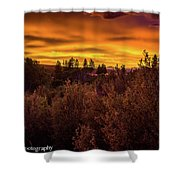 Quilted Orange Skies Shower Curtain