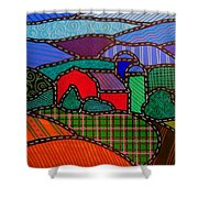 Quilted Red Barn And Mountains Shower Curtain
