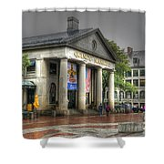 Quincy Market On A Wet Day Shower Curtain