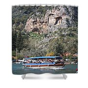 Quintessentially Dalyan River Boats And Rock Tombs Shower Curtain