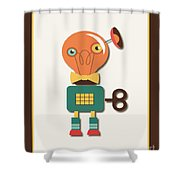 Quirky Retro Wind-up Toy Shower Curtain