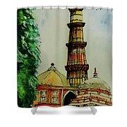 Qutab Minar Of India, Monument Of India Shower Curtain