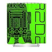 R2d2 - Star Wars Art - Green Shower Curtain