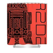 R2d2 - Star Wars Art - Red Shower Curtain