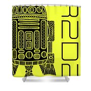 R2d2 - Star Wars Art - Yellow Shower Curtain