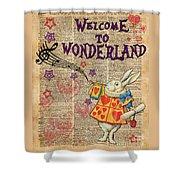 Rabbit Welcome To .. Alice In Wonderland Shower Curtain