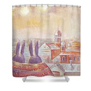 Rabbits In Rome Shower Curtain