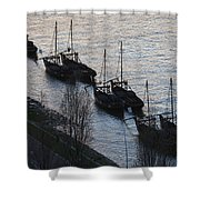 Rabelo Boats On Douro River In Portugal Shower Curtain