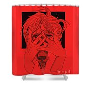 Rabid Breathing Red Variant Shower Curtain