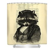 Raccoon Portrait, Animals In Clothes Shower Curtain