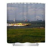 Race Boat In Charleston Shower Curtain