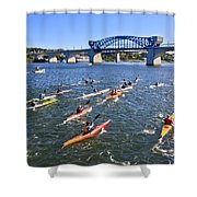 Race On The River Shower Curtain by Tom and Pat Cory