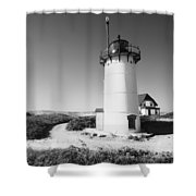 Race Point Lighthouse Black And White Photo Print Shower Curtain