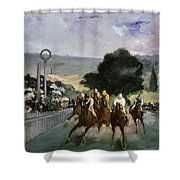Races At Longchamp Shower Curtain by Edouard Manet