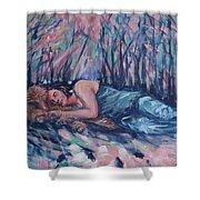 Rachel In The Sun-splattered Forest Shower Curtain