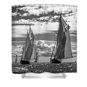 Racing On Open Waters B-w Shower Curtain