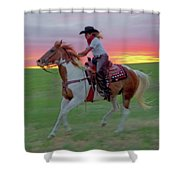 Racing The Sunset Shower Curtain