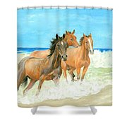 Racing The Surf Shower Curtain