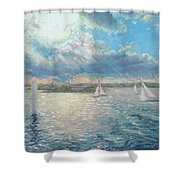 Racing Yachts Past Snapper Island Shower Curtain