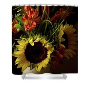 Radiant Sunflowers And Peruvian Lilies Shower Curtain