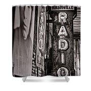 Radio Nashville - Monochrome Shower Curtain