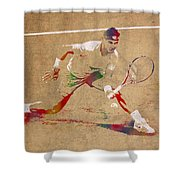 Rafael Nadal Tennis Star Watercolor Portrait On Worn Canvas Shower Curtain