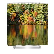 Raft On Autumn Pond Shower Curtain