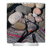 Rag Rugs With Stones And The Dock 3 Shower Curtain