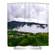 Raging Clouds On The Village Shower Curtain