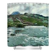Raging Water Streams In The Hills Shower Curtain