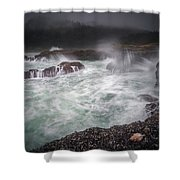Raging Waves On The Oregon Coast Shower Curtain