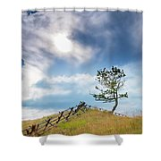 Rail Fence And A Tree Shower Curtain
