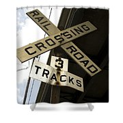 Rail Road Sign Shower Curtain
