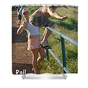 Rail Surfing Shower Curtain