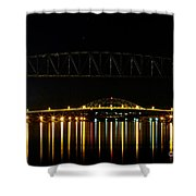 Railroad And Bourne Bridge At Night Cape Cod Shower Curtain