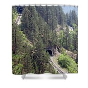 Railroad And Tunnels On Mountain Shower Curtain