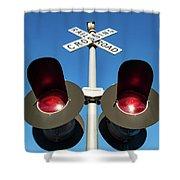 Railroad Crossing Lights Shower Curtain