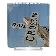 Railroad Crossing Sign Shower Curtain