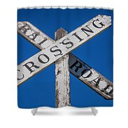 Railroad Crossing Wooden Sign Shower Curtain