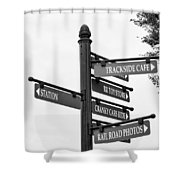 Railroad Directions_bw Shower Curtain
