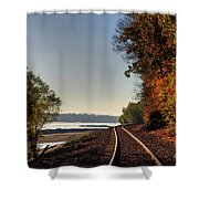 Railroad Track By The Mississippi  Shower Curtain