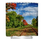 Railroad Tracks At Grand-pre National Historic Site Shower Curtain