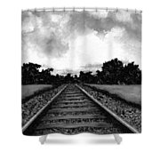 Railroad Tracks - Charcoal Shower Curtain