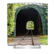 The Railway Passing Through The Tunnel To Meet The Light Shower Curtain
