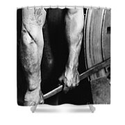 Railroad Worker Tightening Wheel Shower Curtain