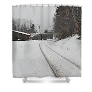 Rails In Snow Shower Curtain