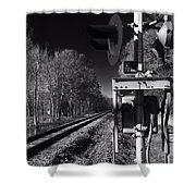 Railway 2 Black And White Shower Curtain