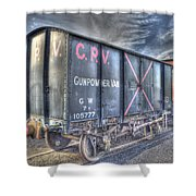 Railway Gunpowder Wagon Shower Curtain by Chris Thaxter