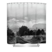 Railway Into The Clouds Bw Shower Curtain