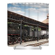 Railway Station With Old Steam Locomotive Shower Curtain